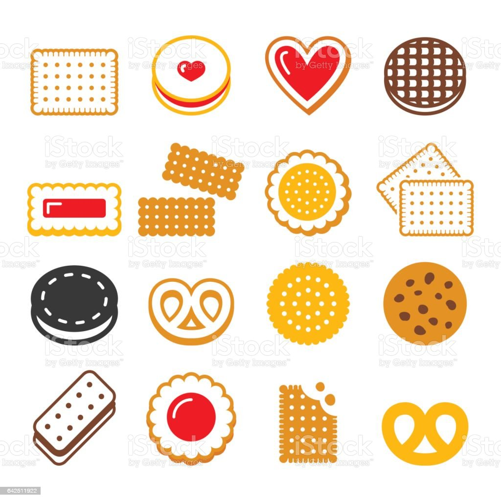 Biscuit, cookie - food, dessert, sweets vector icons set vector art illustration