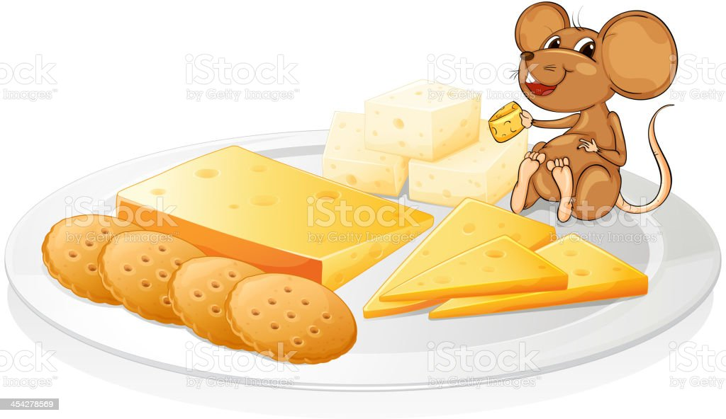 Biscuits, cheese and mouse royalty-free stock vector art