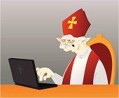 Bishop using computer
