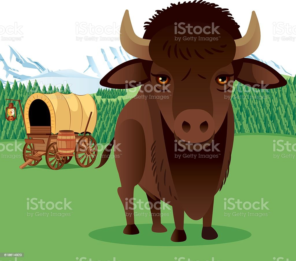 Bison and Mountains vector art illustration