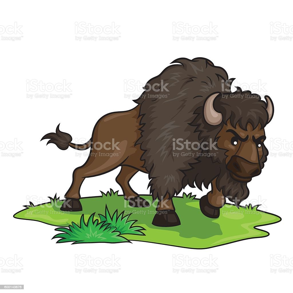 Bison Cartoon vector art illustration