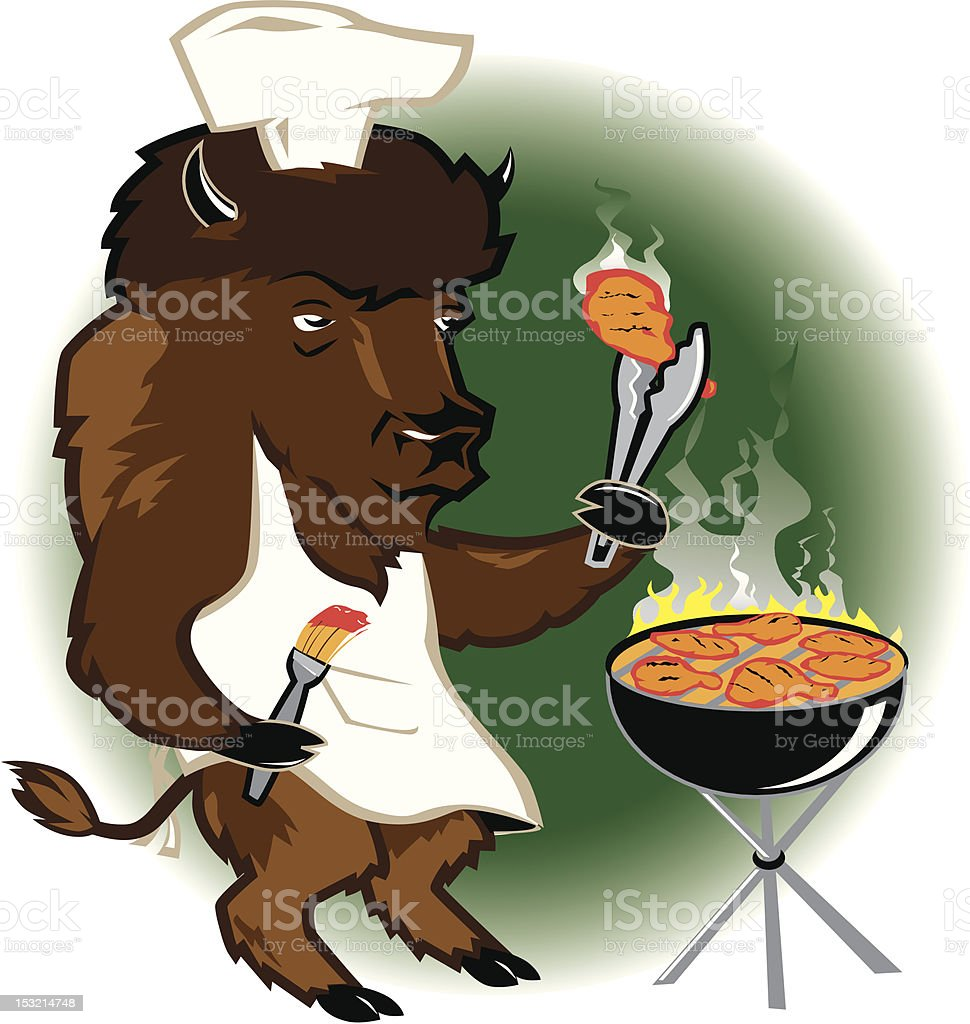 Bison Grill Chef royalty-free stock vector art