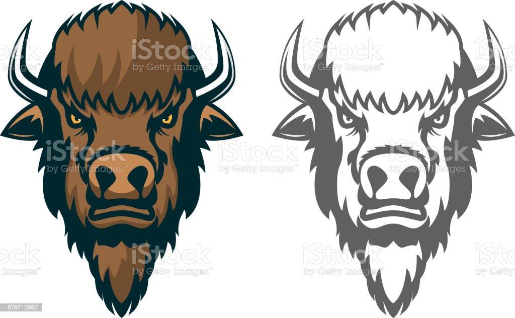 Bison head. mascot. Emblem of the sport team or club vector art illustration