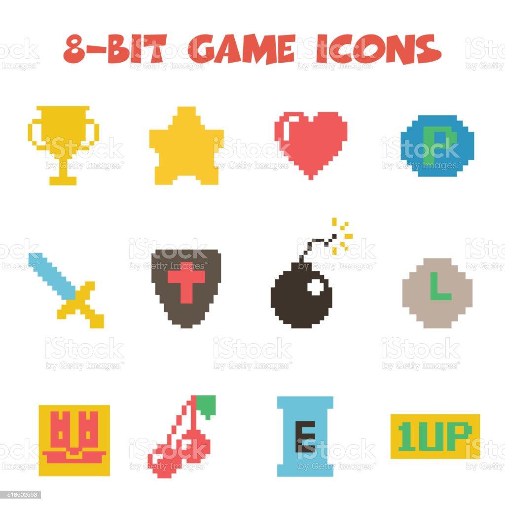 8 bit item icons color vector art illustration