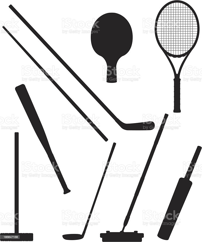 bits and stick to sports black silhouette vector illustration royalty-free stock vector art
