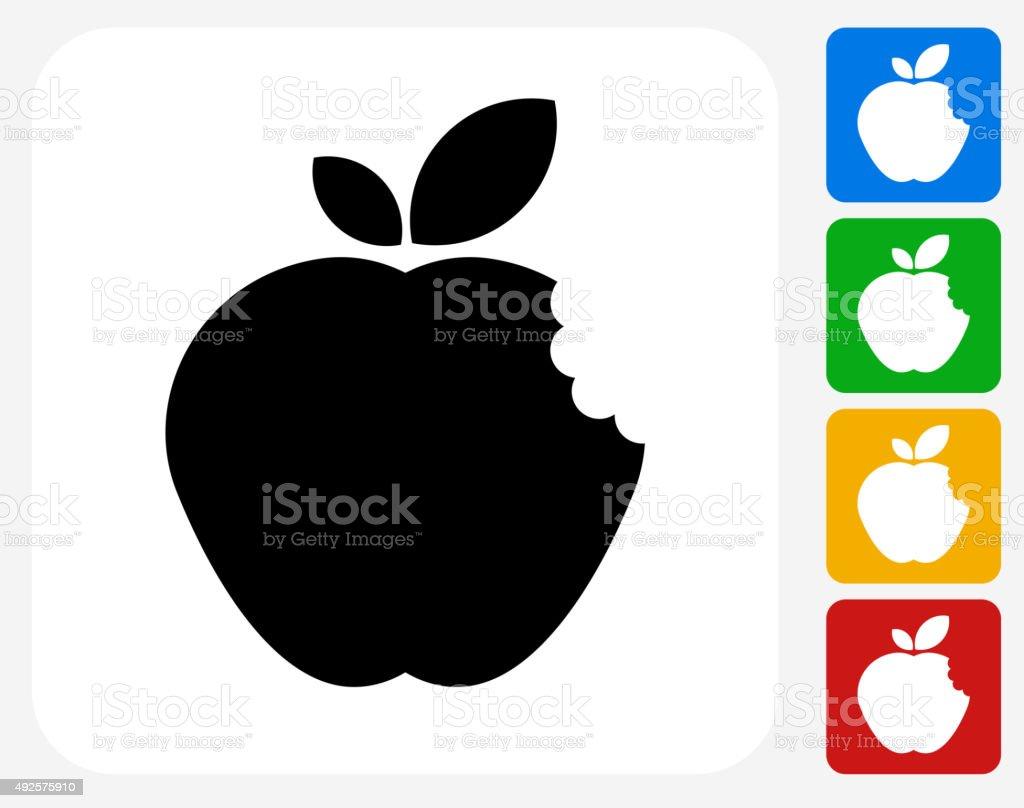 Bitten Apple Icon Flat Graphic Design vector art illustration