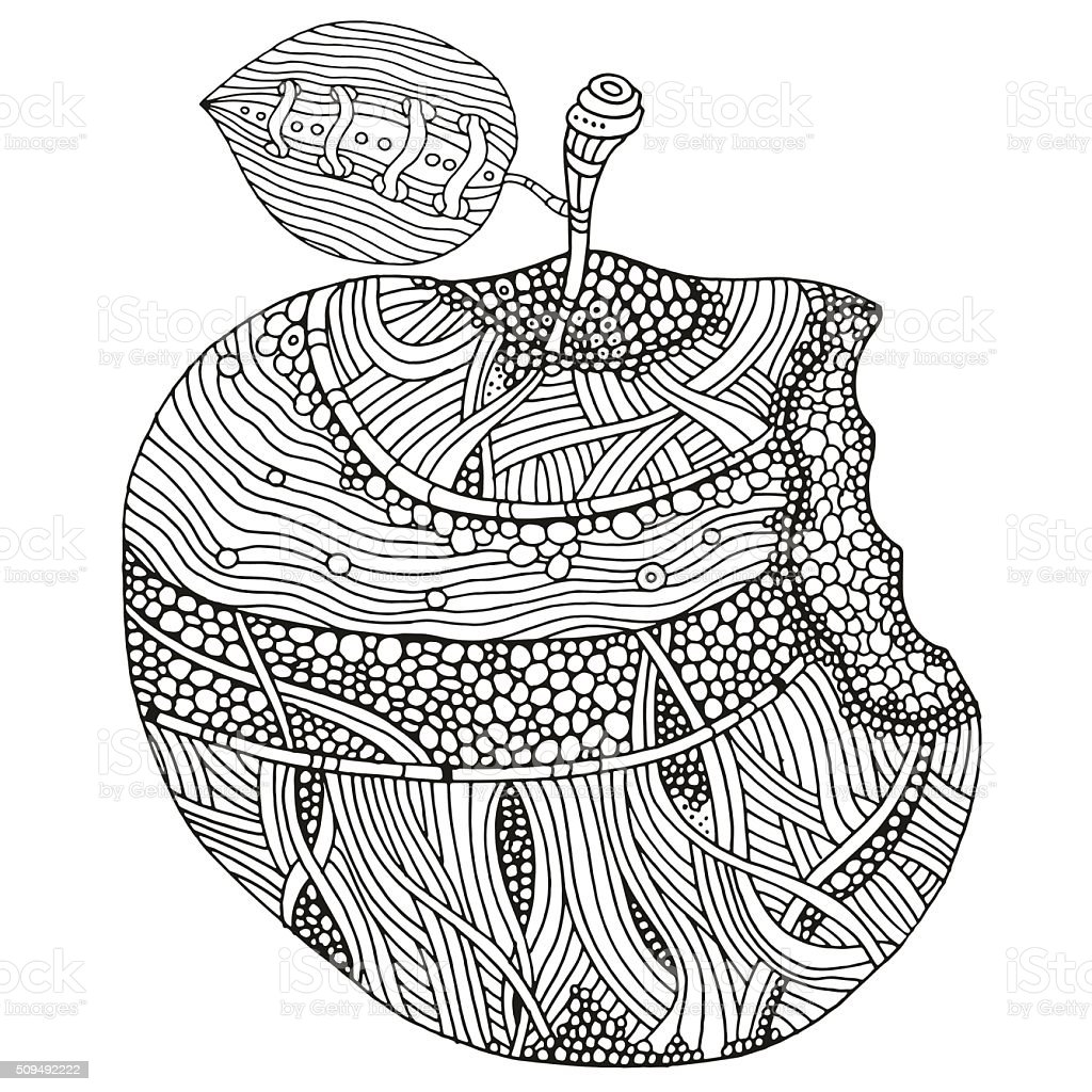 Bitten apple on white background. Hand-drawn vector art illustration