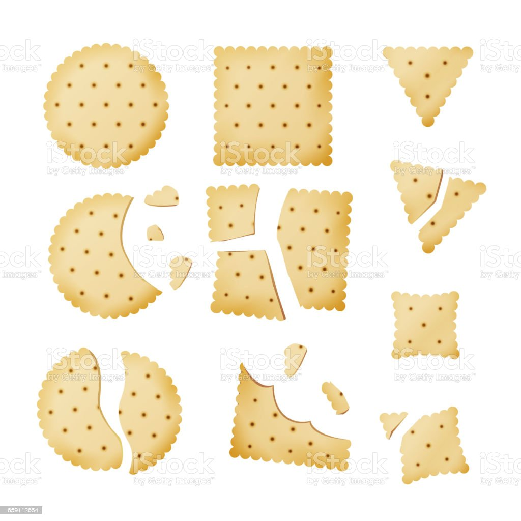 Bitten Chip Biscuit Cookie Vector. Cracker In Different Shapes vector art illustration