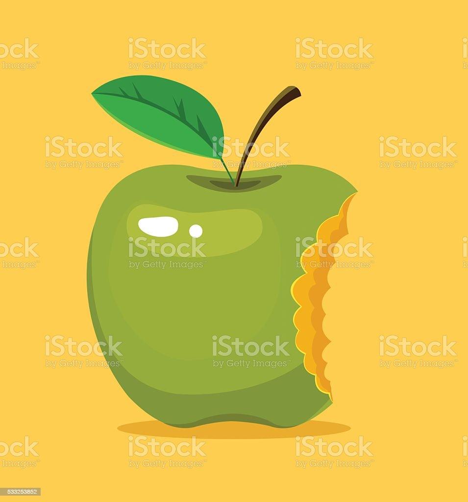 Bitten green apple. Vector flat cartoon illustration vector art illustration