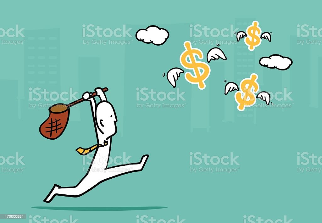 Biz man concept : Business man running catch flying dollar vector art illustration