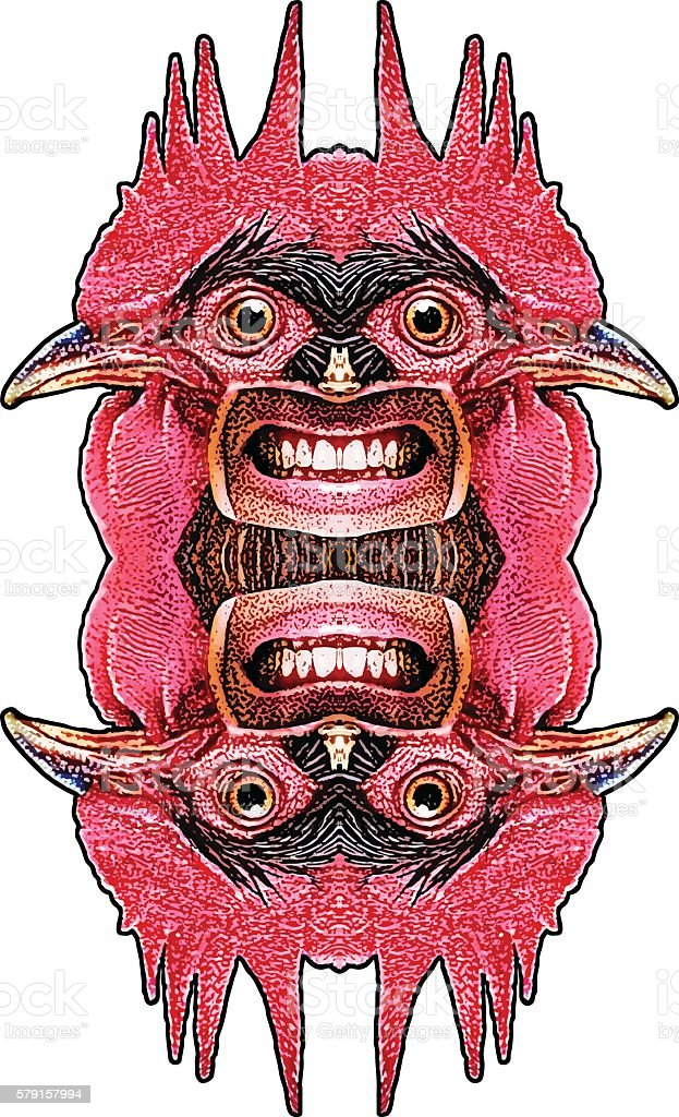 Bizarre Rooster Creature head vector art illustration