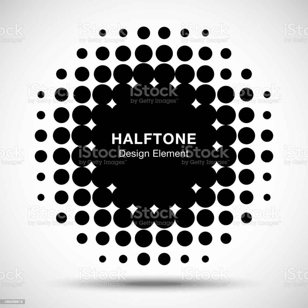Black Abstract Halftone Design Element vector art illustration