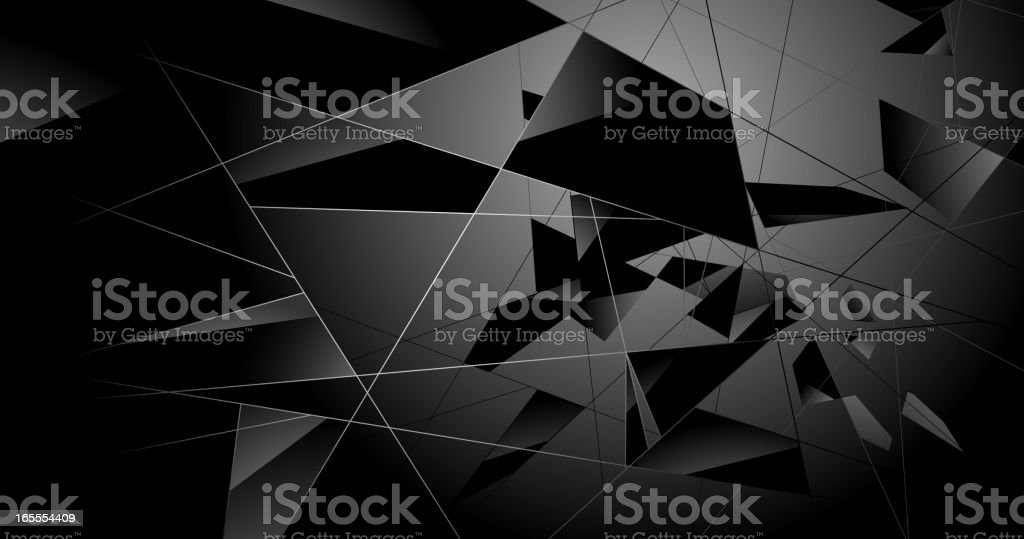 A black abstract shattered glass background vector art illustration