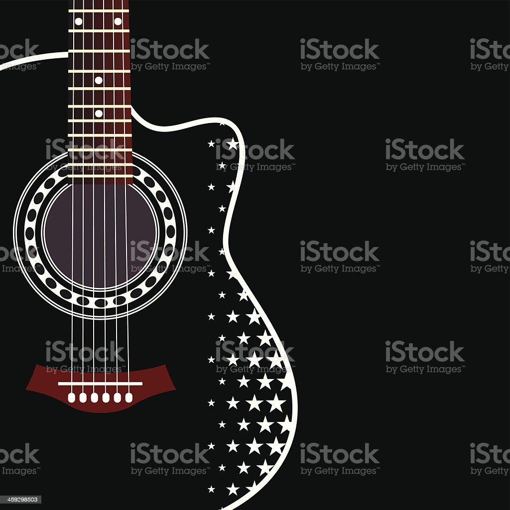 Black acoustic guitar with star pattern on black background vector art illustration