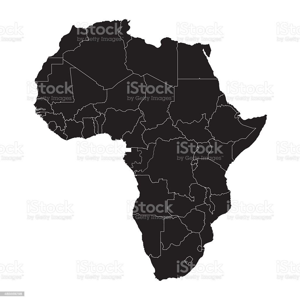 Black Africa silhouette map with border lines vector art illustration