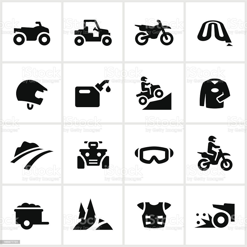 Black All Terrain Vehicle Icons vector art illustration
