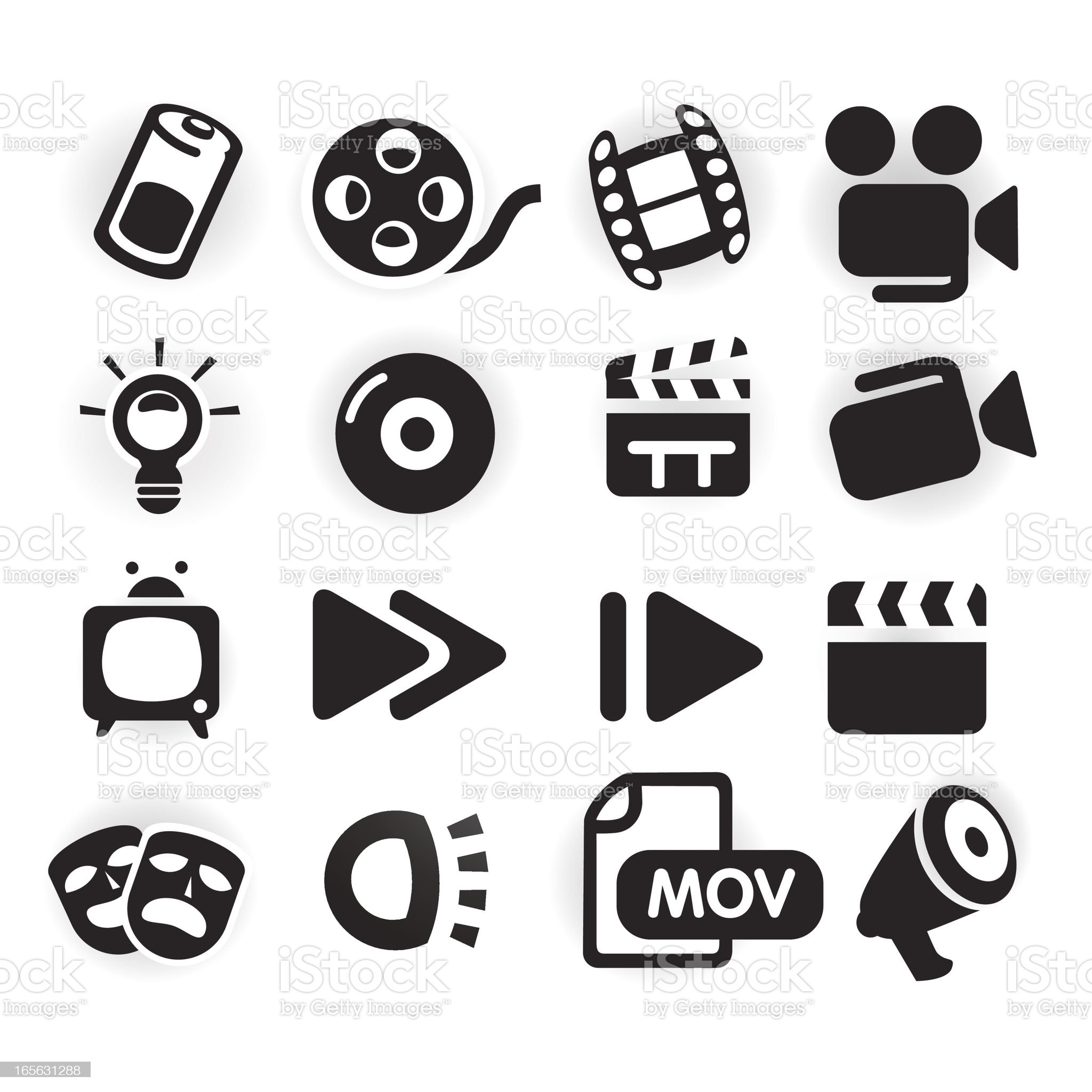 Black & White Series - Media Icons royalty-free stock vector art