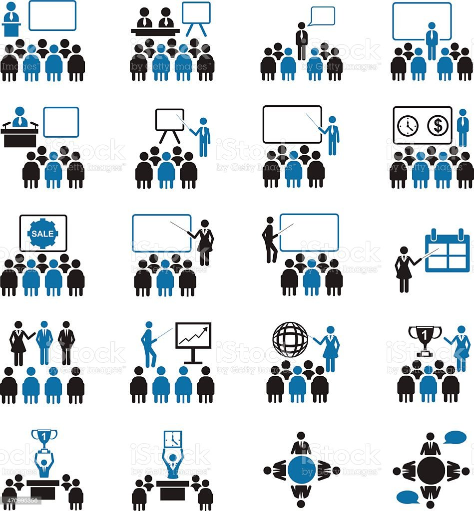 Black and blue business conference icon set vector art illustration