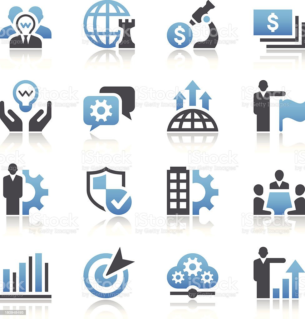 Black and blue vector business concept icons vector art illustration
