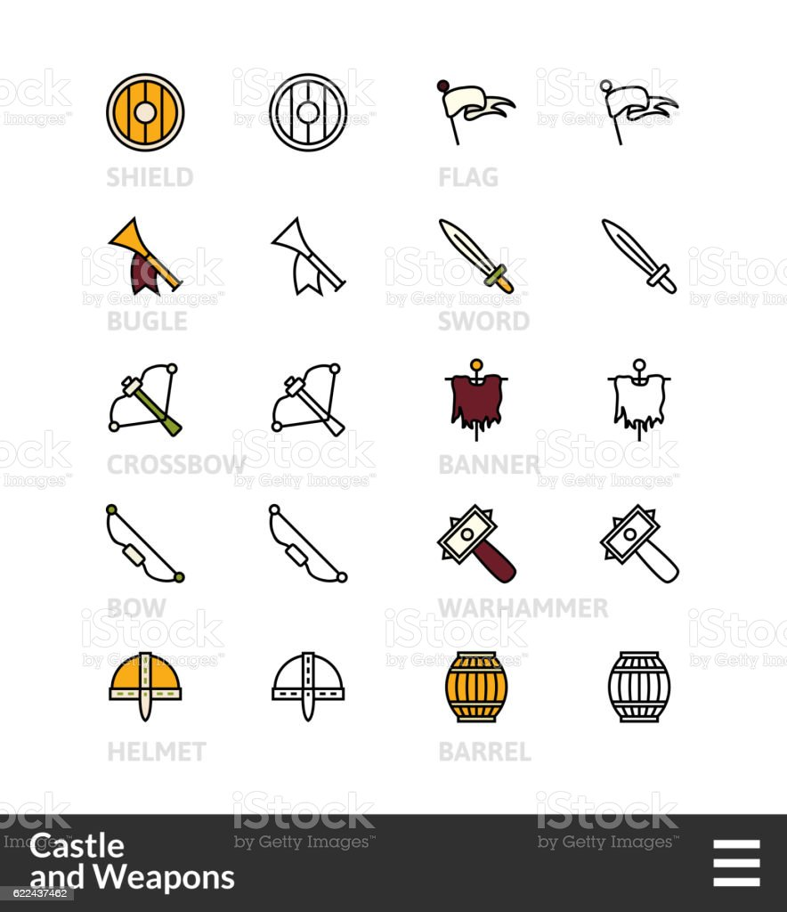 Black and color outline icons, thin stroke line style design vector art illustration