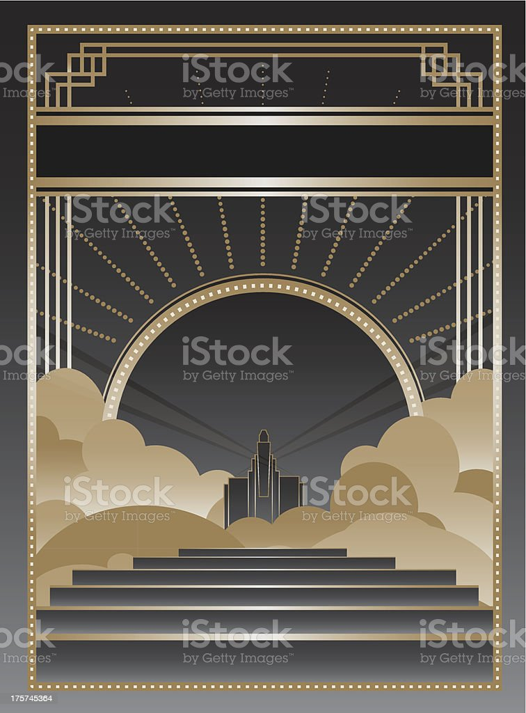Black and gold Art Deco style frame and background royalty-free stock vector art