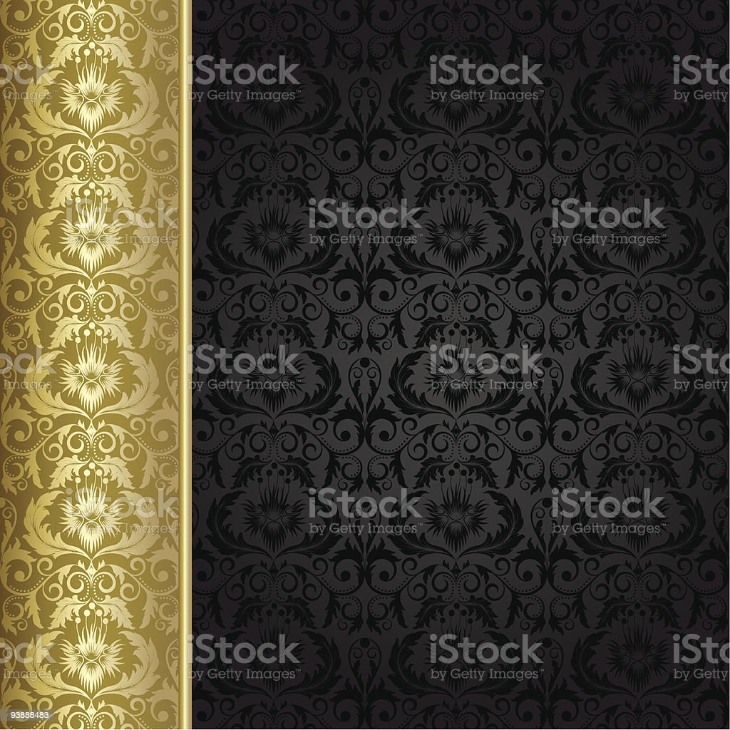 Black and gold background in Victorian style royalty-free stock vector art