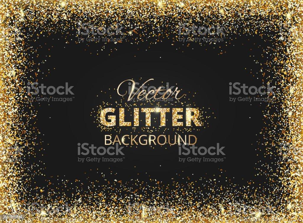 Black and gold background with glitter frame vector art illustration