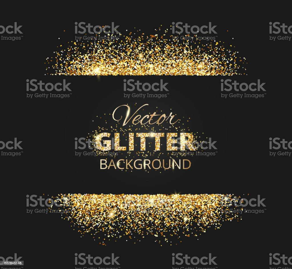 Black and gold background with glitter frame vector art illustration