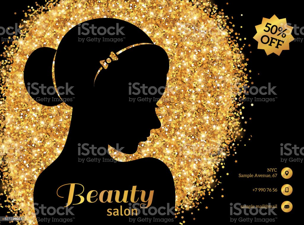Black and Gold Fashion Woman with Hair Bun. vector art illustration