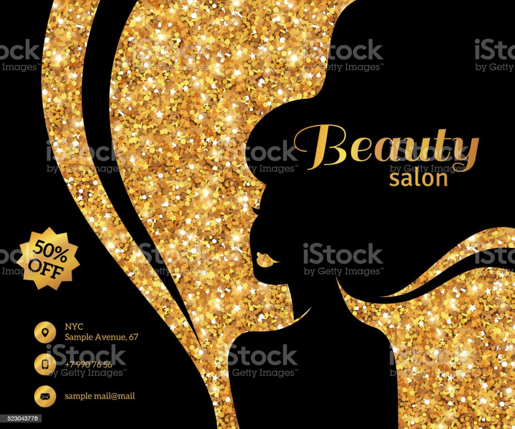 Black and Gold Flyer Fashion Woman Long Hair vector art illustration