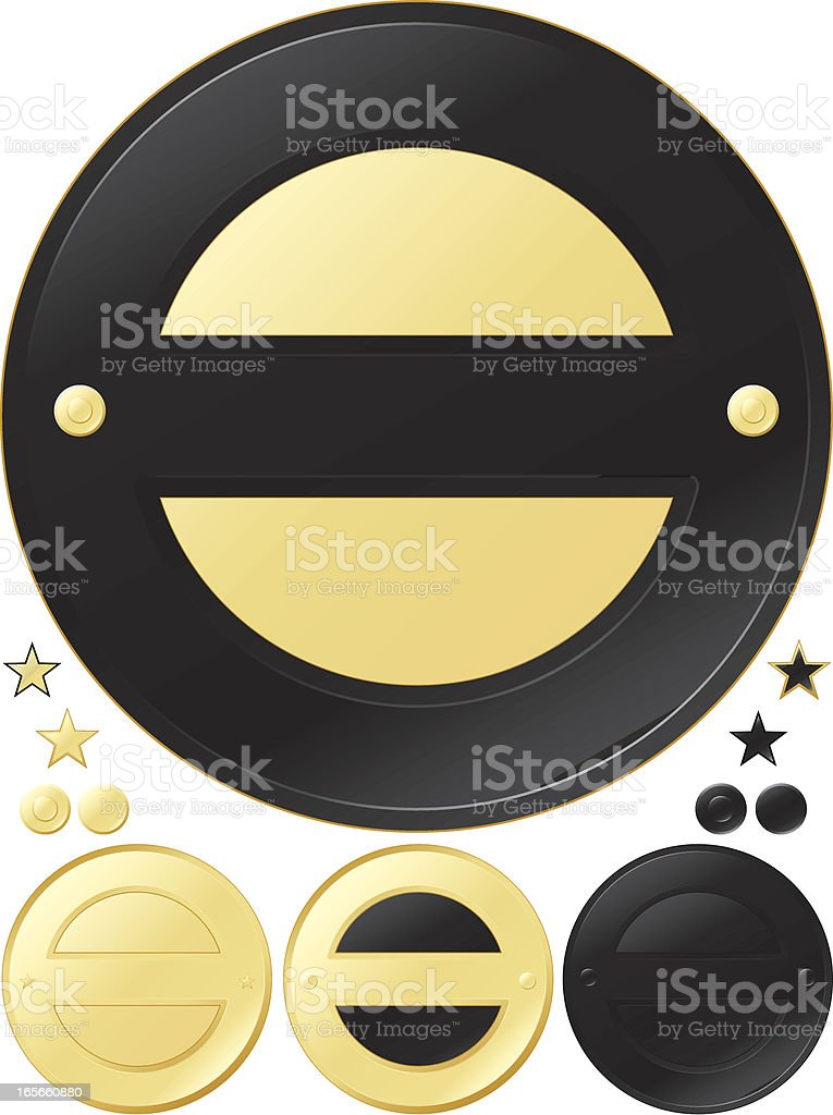 Schwarz und Gold Runde Medaillen, Aufkleber-Set Lizenzfreies vektor illustration