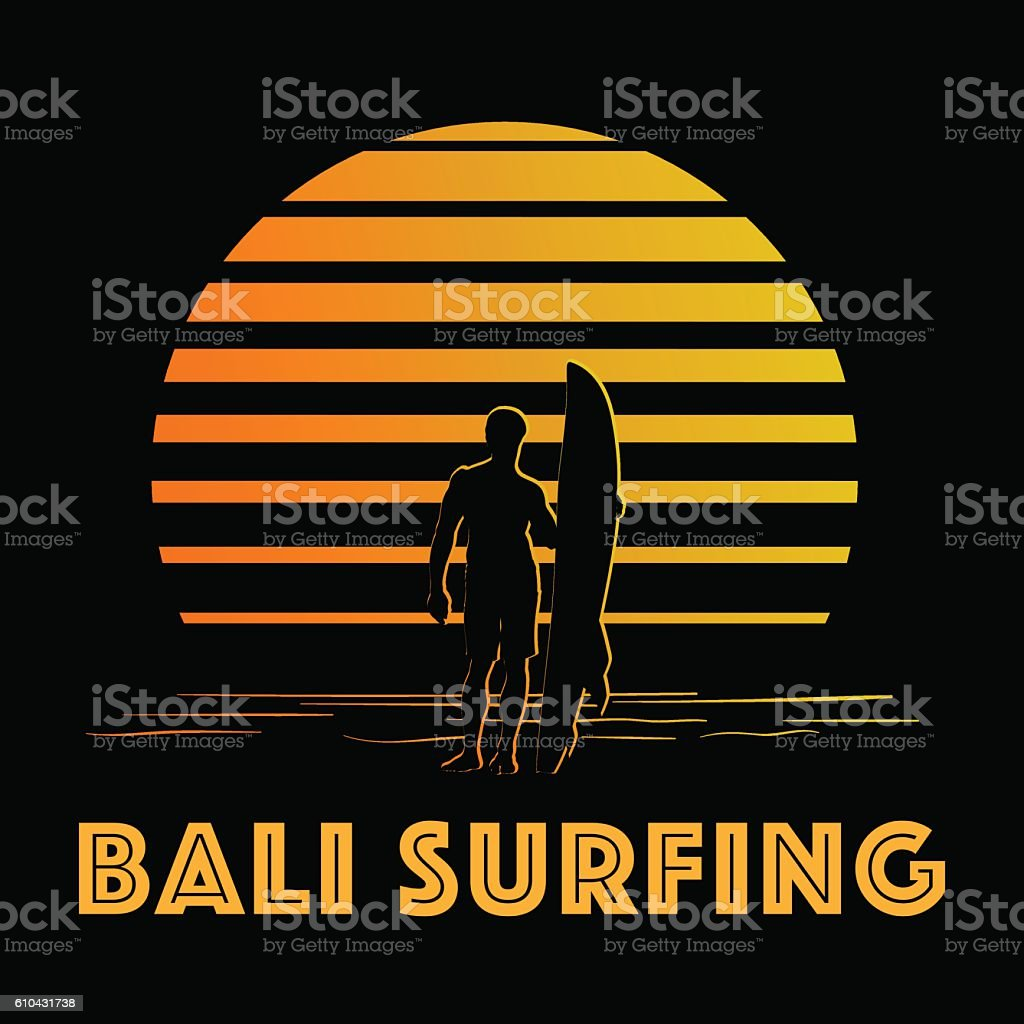 Black and gold stripes logo with surfer silhouette vector art illustration