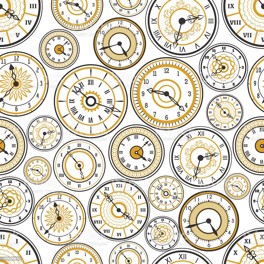 Black and gold watches seamless pattern vector art illustration