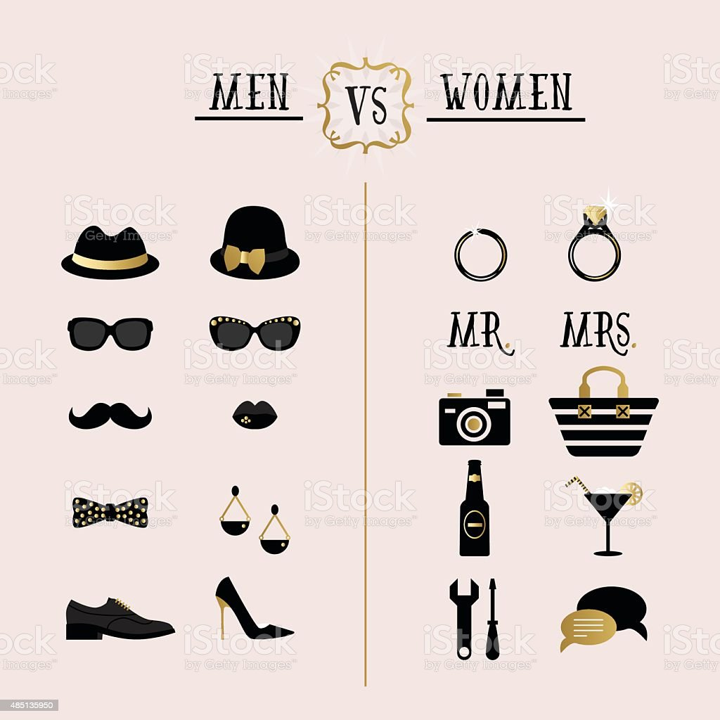 Black and golden hipster Men Vs Women accessory design icons vector art illustration