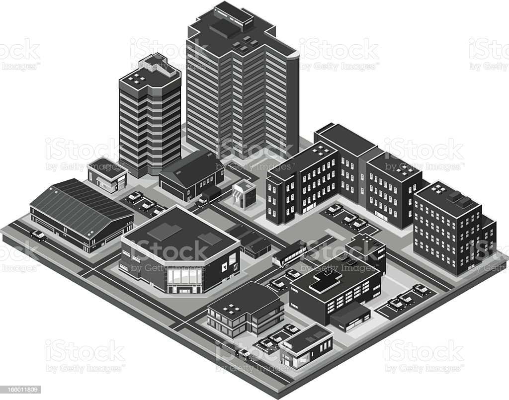 Black and gray isometric illustration of an urban landscape royalty-free stock vector art