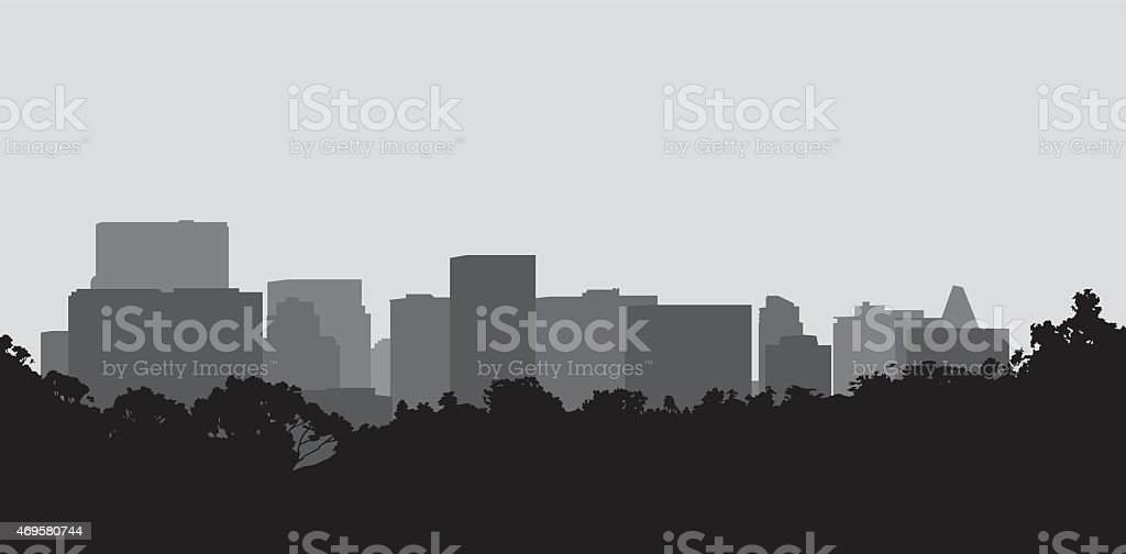 Black and gray silhouette of a cityscape vector art illustration