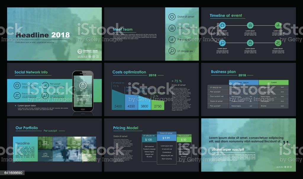 Black and green elements for infographics vector art illustration