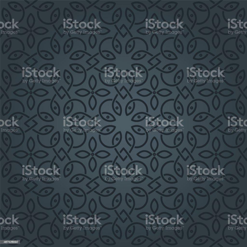 A black and grey Arabic pattern vector art illustration