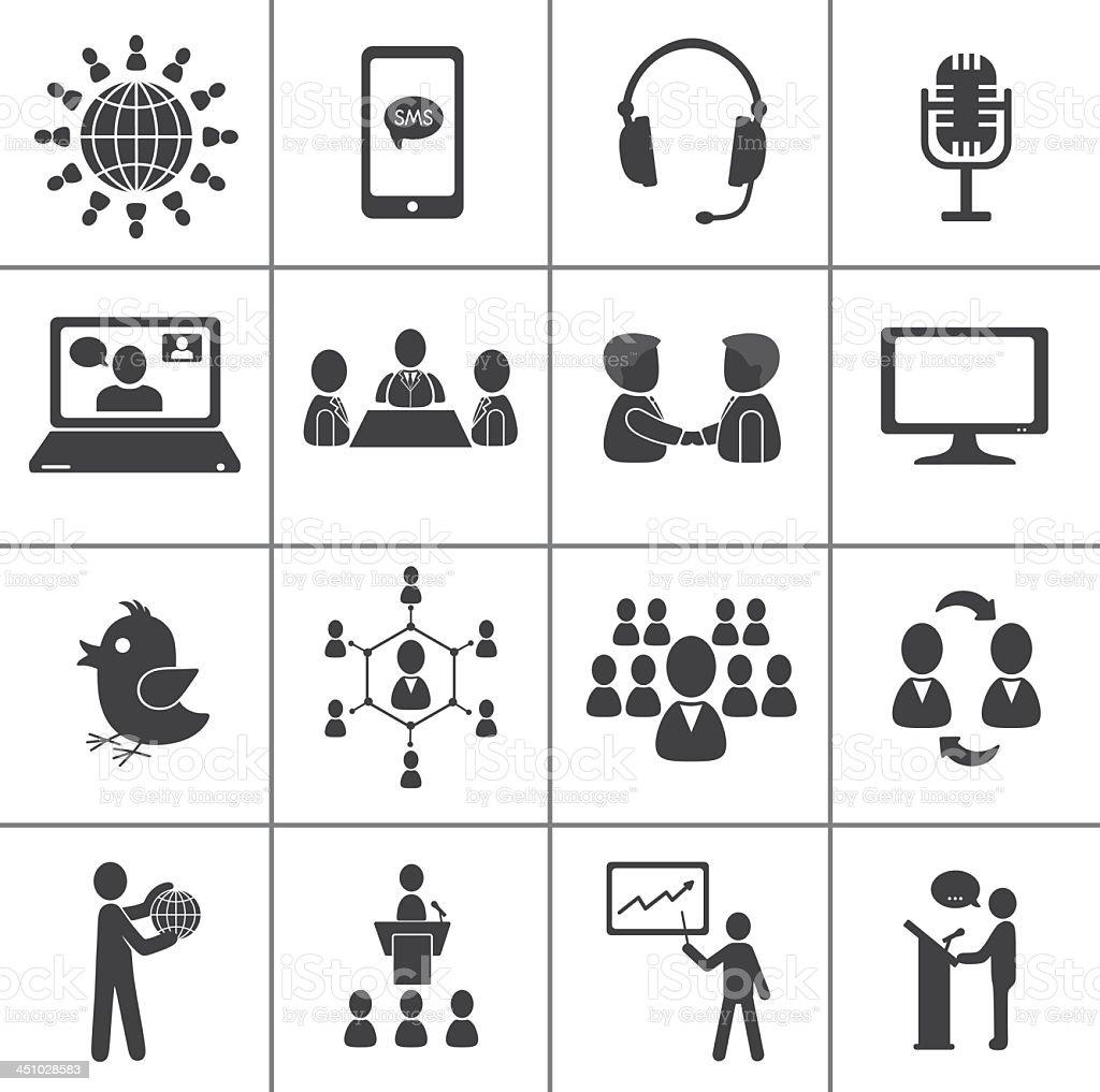 Black and grey communication icons on white background vector art illustration