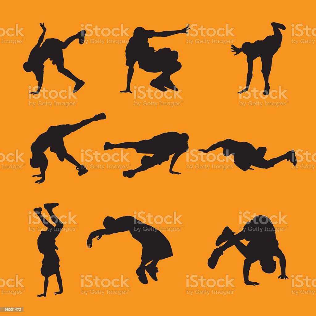 Black and orange breakdancers royalty-free stock vector art
