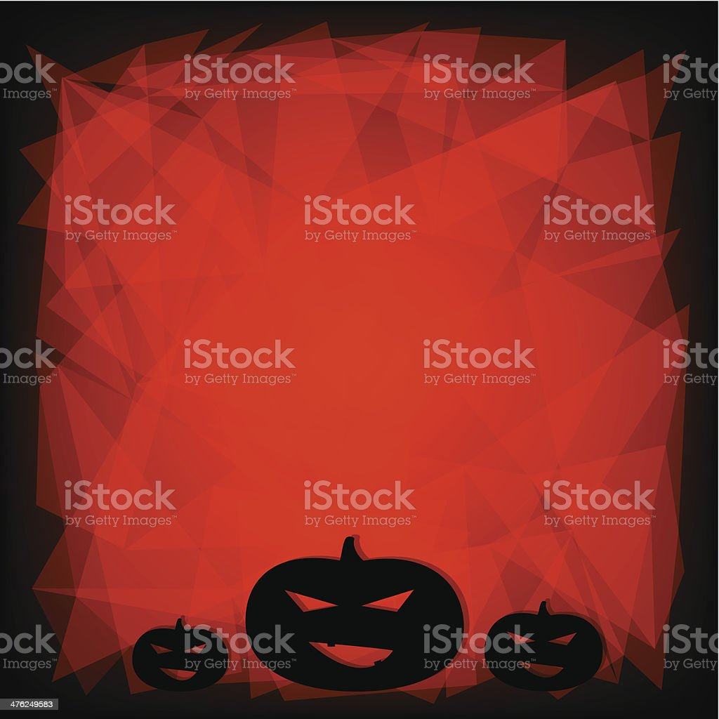 Black and orange Halloween background with three pumpkins. royalty-free stock vector art