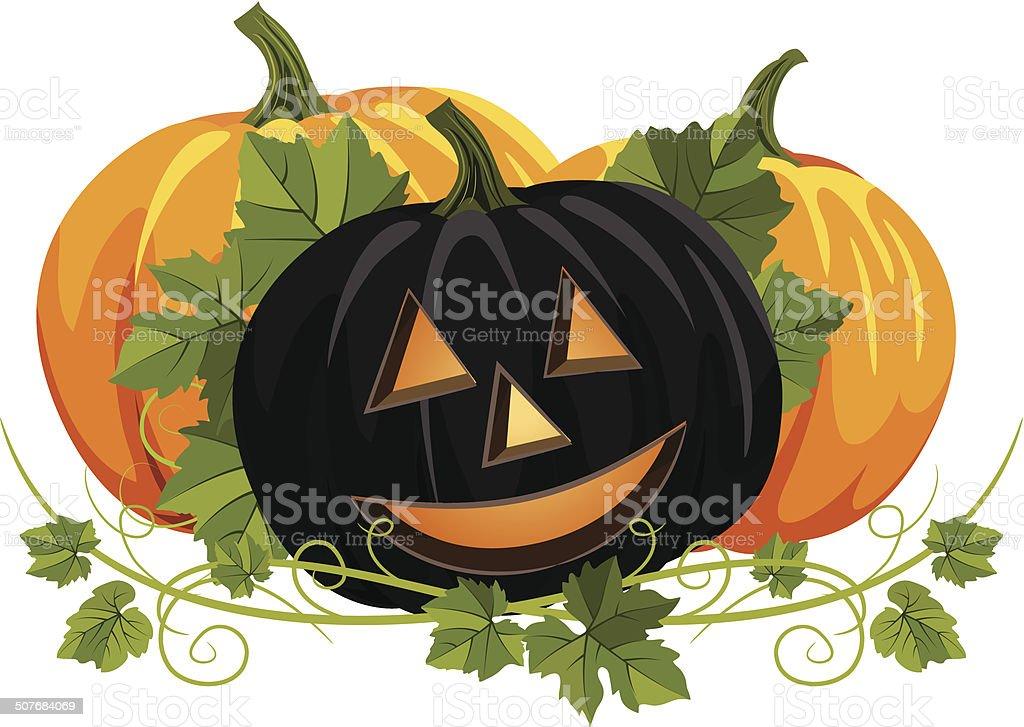 Black and Orange Pumpkin Ornament With Vines vector art illustration