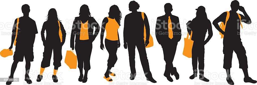 Black and orange silhouettes of various people royalty-free stock vector art
