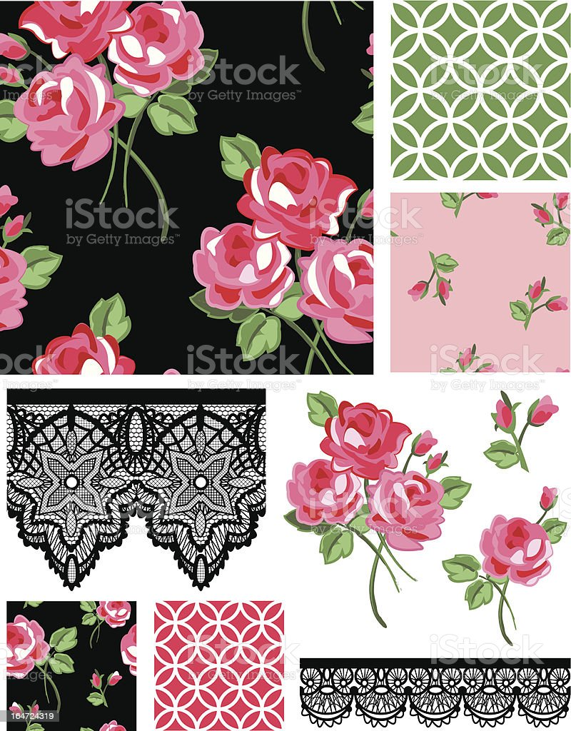 Black and Pink Rose Vector Seamless Patterns. royalty-free stock vector art