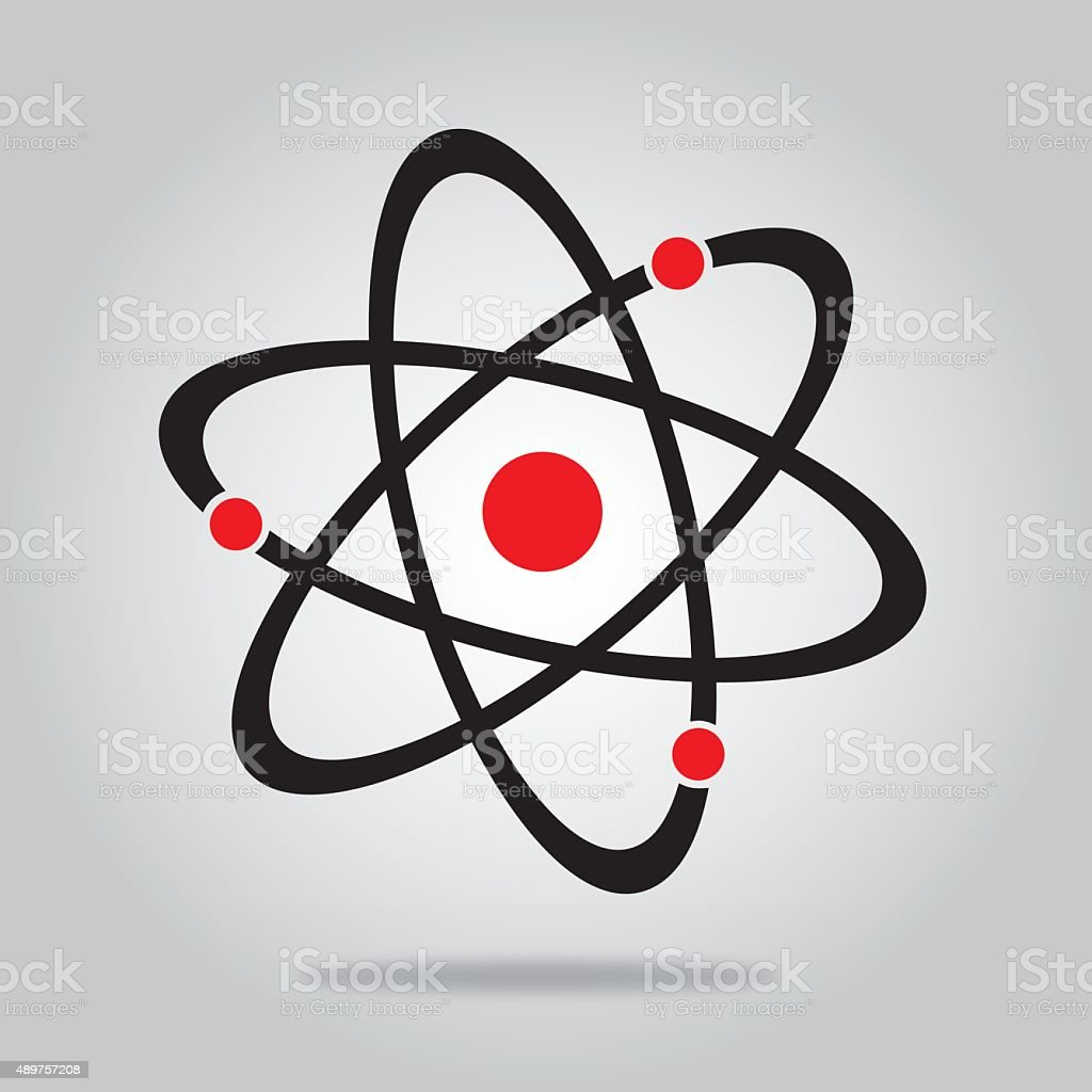 Black And Red Atom vector art illustration