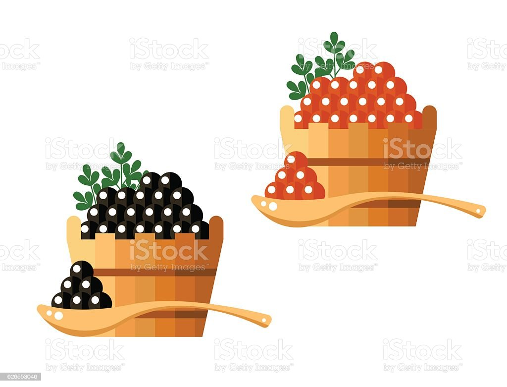 Black and red caviar in a wooden barrel isolated on vector art illustration
