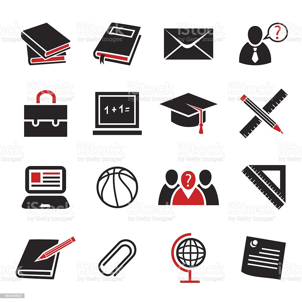 Black and red minimalistic icons related to education royalty-free stock vector art