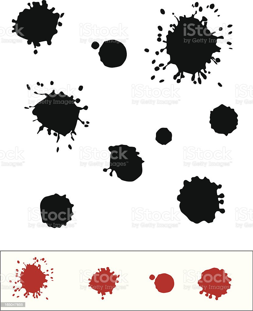 Black and red paint blotches on a white background royalty-free stock vector art