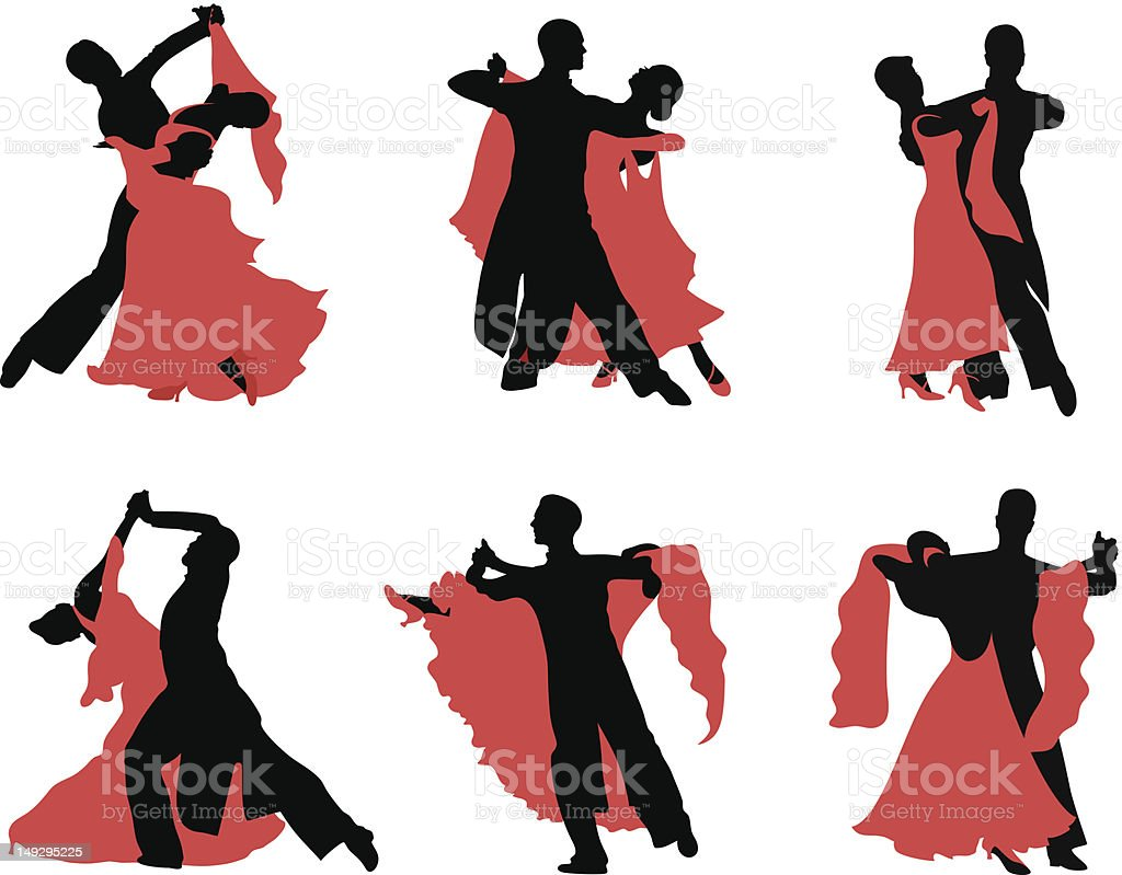Black and red silhouettes of ballroom dancers vector art illustration