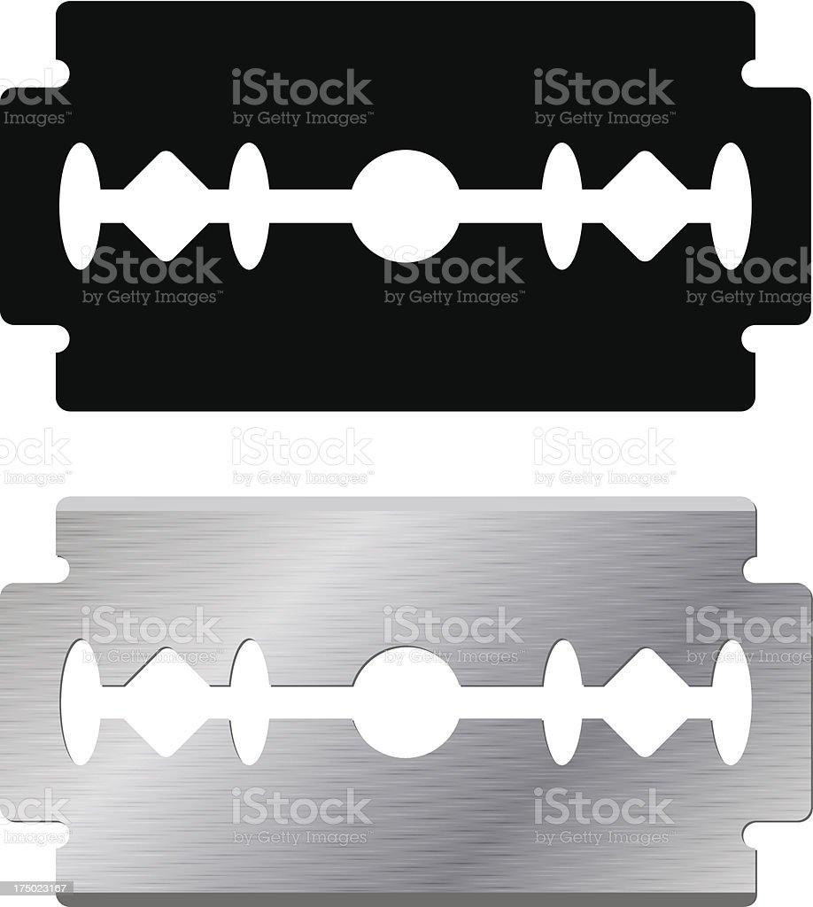 Black and silver razor blades against white background vector art illustration